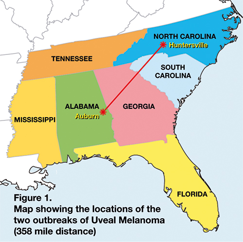 Map of ocular melanoma outbreaks