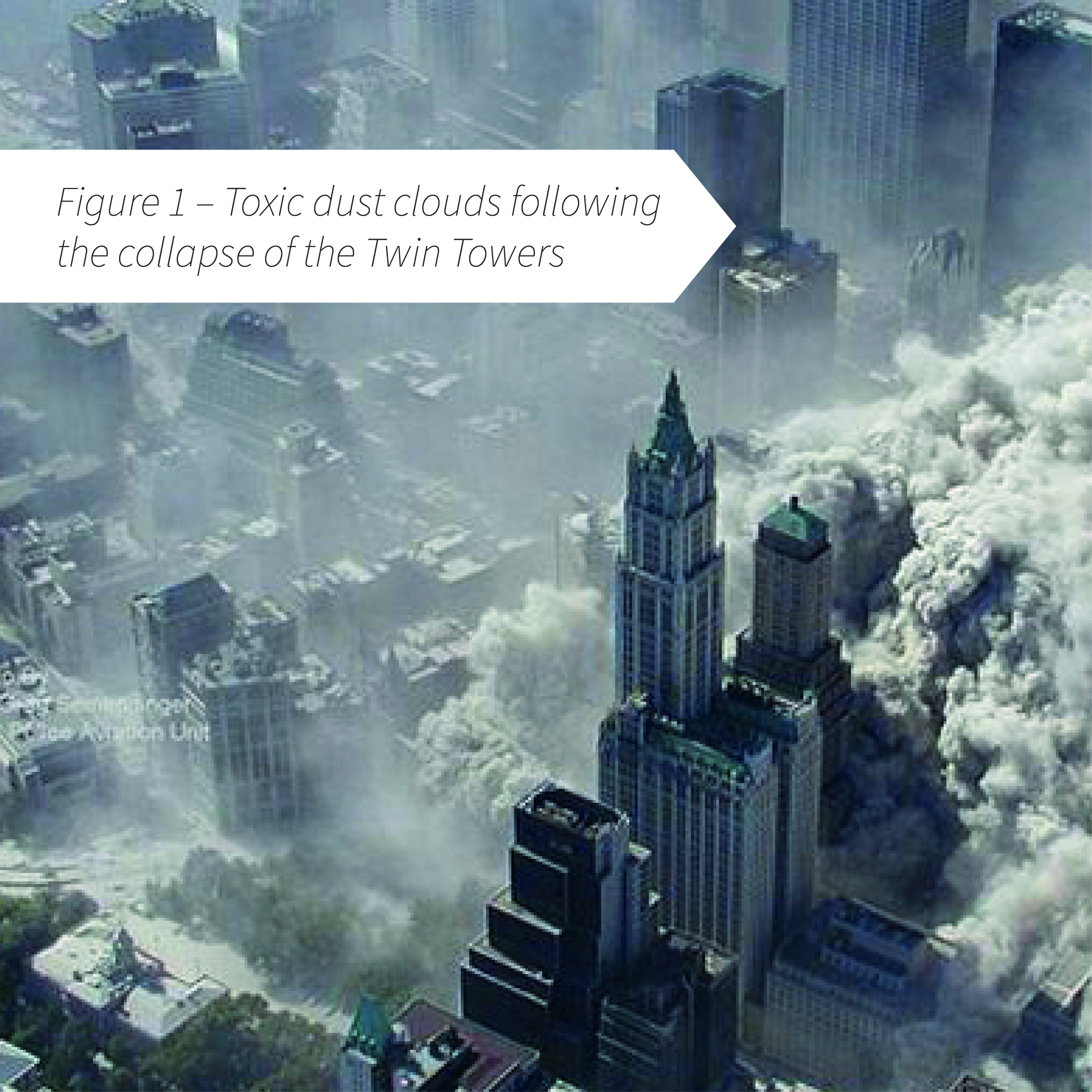 Figure 1 - Toxic dust clouds following the collapse of the Twin Towers on 9/11